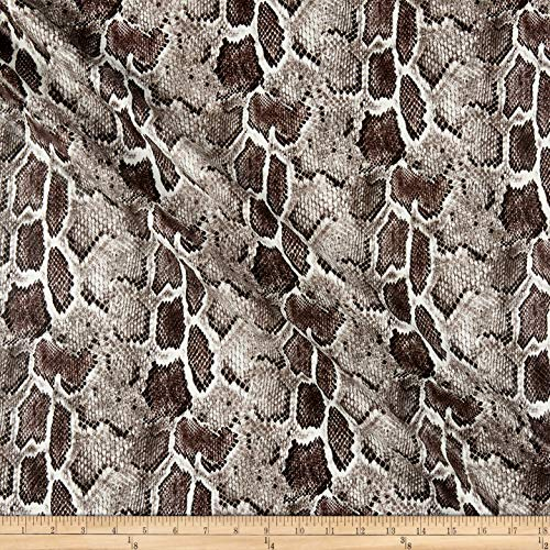 Telio Dolce Faux Leather Snake Print Off White Taupe Grey, Fabric by the Yard
