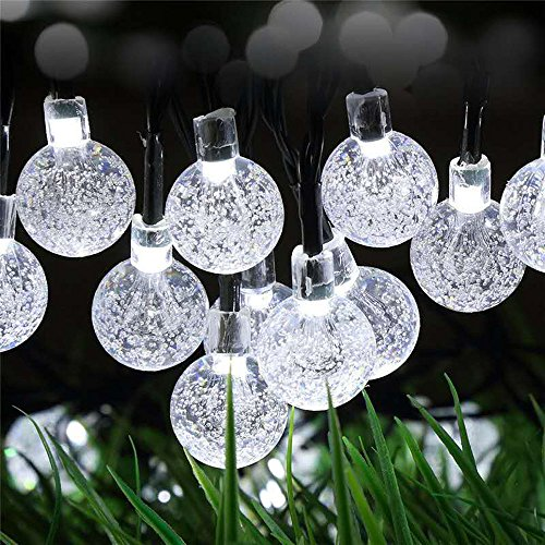 Solar String Lights 31ft 50 LED Globe Fairy Lights, Super-Bright Waterproof Crystal Ball Lighting for Garden, Fence, Path, Landscape, Christmas Decorations -- (Cool white)