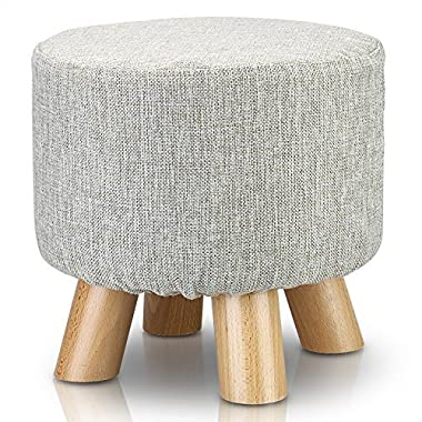 1Easylife Furnishings Upholstered Ottoman Padded Foot Stool with 4 Beech Legs and Removable Linen Cover (Flax Grey)
