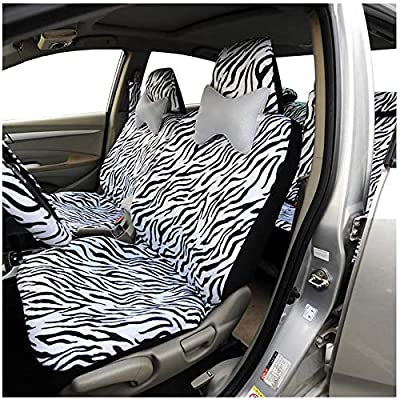 Audel Zebra Car Seat Covers for Full Set with 2 Seat Belt Pads & Universal 15 Inch Steering Wheel Cover Fit for Cars, Trucks, SUV, or Van: Automotive