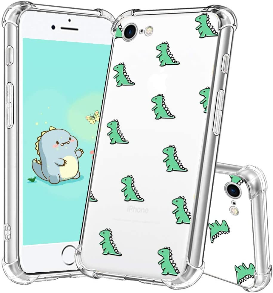 for iPhone 7 Case,for iPhone 8 Cute Dinosaur Case,for iPhone SE Cute Case,YESPURE Cute TPU [Shock Absorbing] Soft Bumper Protective Case Cover for iPhone 7/8/SE - Cute Dinosaur 04#