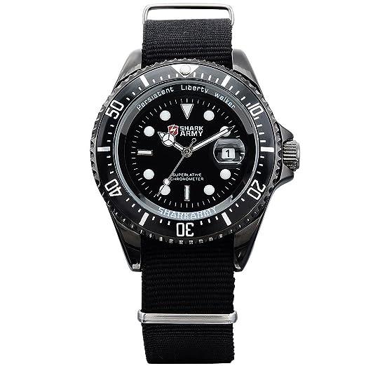SHARK ARMY SAW015 Reloj Hombre de Cuarzo, Correa de Nylš®n Negro,: Amazon.es: Relojes