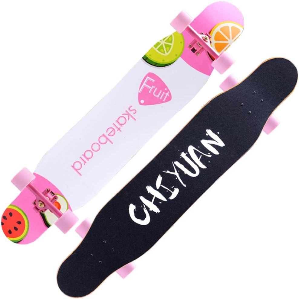 プロスケートボードフリースタイルロングボード学生ダンスボードシティスクーターショッピングガールフレンド誕生日ギフト7層AAAメープルデッキ46 * 9.1 * 5.1インチ,ピンク ピンク