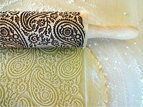 PAISLEY rolling pin. Engraved rolling pin with paisley for embossed cookies. Embossing rolling pin