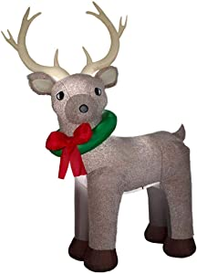 Home Accents Holiday Inflatable Reindeer 11 ft. Self-inflates Plush Fabric Brown