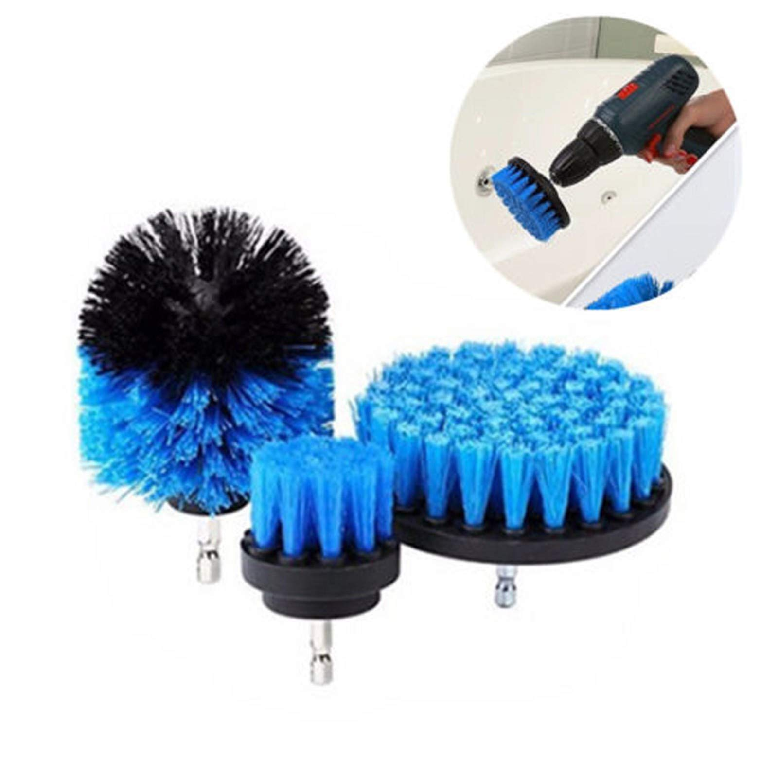 MZS Tec Cleaning Drill Brush, Bathroom Surfaces Tub, Shower, Tile and Grout, Kitchen Power Scrubber Cleaning Kit (Blue)