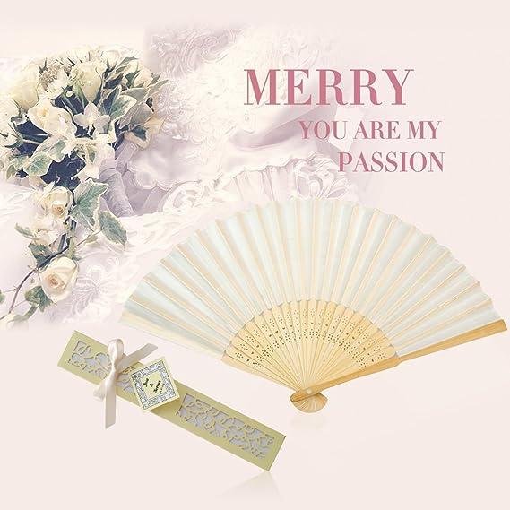 50 pcs//lot White Folding Elegant Paper Hand Fan Wedding Party Favors 21cm w D2Y0
