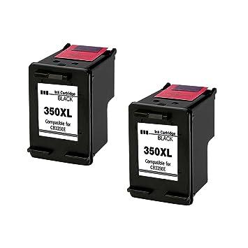 Kyansin Remanufacturado Cartuchos de Tinta para 350 Repuesto para 350 (2 Negros) Compatible para HP Photosmart C4580 C4585 C4480 C4380 C5280 C4280 ...