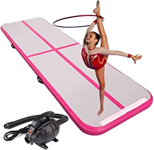CNSPORT 10ft/13ft/16ft/20ft/23ft/26ft Inflatable Gymnastics Airtrack Tumbling Mat Air Track Floor Mats with Electric Air Pump for Home Use/Training/Cheerleading/Beach/Park and Water