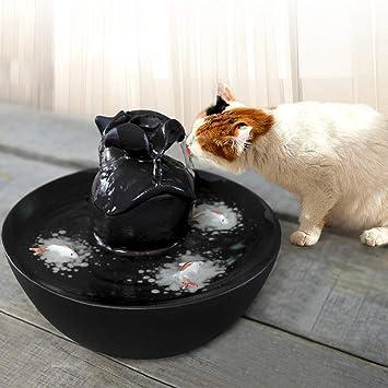 CWYSJ Fuente de Agua para Gatos y Perros pequeños, Bebedero para Mascotas Dispensador automático de Agua Dulce para Mascotas, diseño Floral, ...