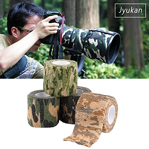 JYUKAN Camo Stealth Tape Self-adhesive Non-woven Camouflage Wrap Rifle Hunting Shooting Cycling duct Tape (Pack of 6)
