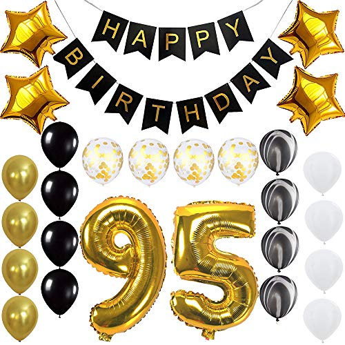 Happy 95th Birthday Banner Balloons Set for 95 Years Old Birthday Party Decoration Supplies Gold Black]()