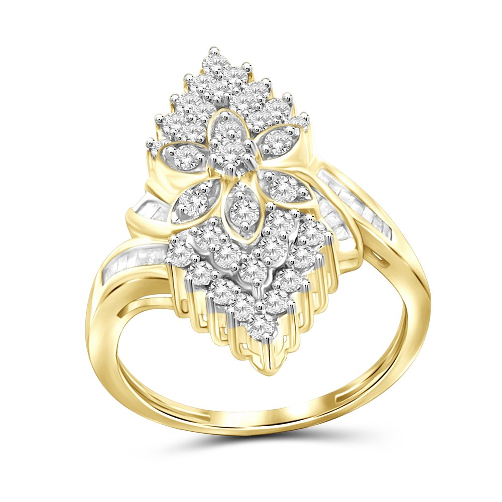 1.00 Carat T.W. White Diamond 14kt Gold Over Silver Marquise Cocktail Ring