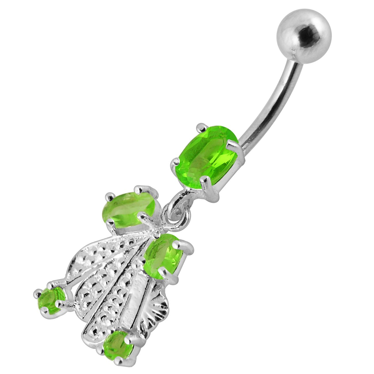 CZ Stone Tribal Leaf Dangling Design 925 Sterling Silver Belly Button Piercing Ring Jewelry