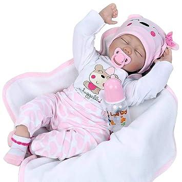 Reborn Muñeca Reale Bebe Silicona Vinilo Ojos Cerrados 55 cm Vestido Rosa