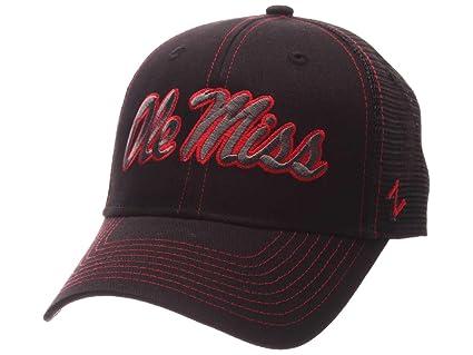 28d86d433 Amazon.com : Ole Miss Rebels Zephyr Black Mesh Blackout Trucker ...