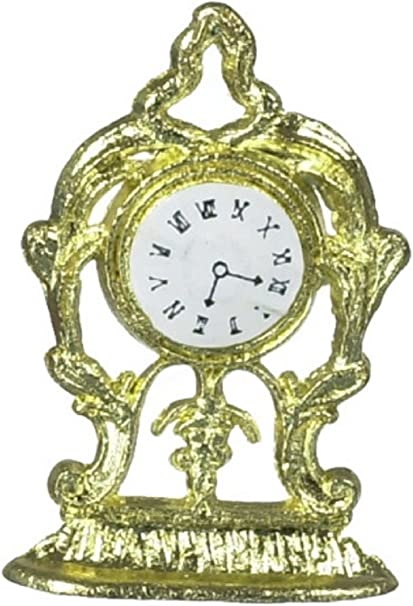 Dolls House White /& Gold Mantle Clock Miniature 1:12 Scale Ornament Accessory