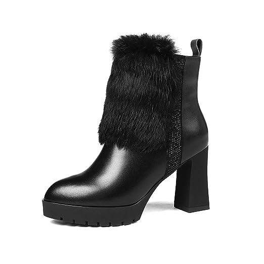 YAN Botines para Mujer, Botines Elegantes para la Moda Botas de tacón Grueso de Lujo Botines con Cremallera Boda y Zapatos de Vestir de Noche: Amazon.es: ...
