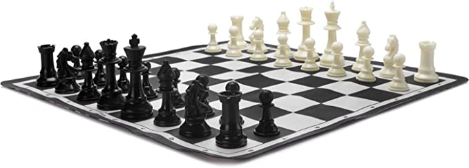 Ratnas Premium Tournament Chess Set 17 x 17 Rollable Matt Board for Mind challengers. Develops Concentration and Attention Span Building