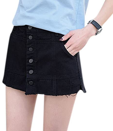 649f4547e6982 Women s Authentic Black Mini A-Line Jeans Skirt Sexy Hot Denim Skirts with  Attached Bottom