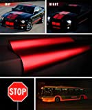 "Reflective Gloss Red Vinyl Car Wrap Film DIY Roll Easy to Install No-Mess Decal (1ft x 48"")"