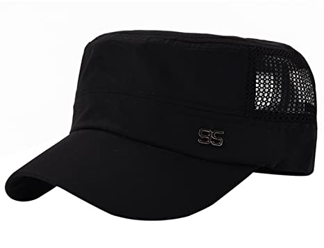 24516f414 AIEOE Men Flat Top Cadet Army Hat Twill Military Style Army Cap