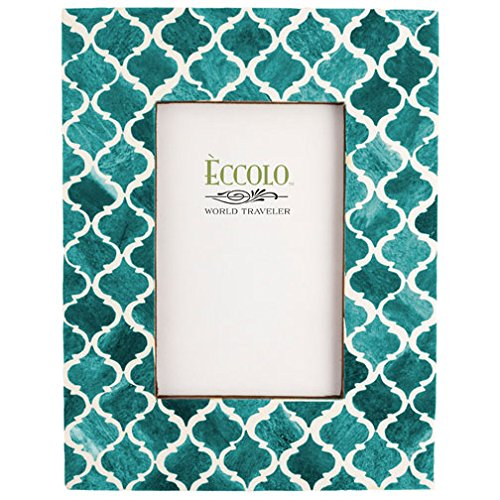 Eccolo Naturals Frame, 4 by 6-Inch, Moorish Tiles Turquoise