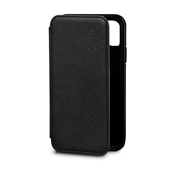 d08ac81d10bc Sena Wallet Book - Genuine Leather Book Style Folio Wallet with Kickstand &  Card Slots for iPhone XS/iPhone X - Black