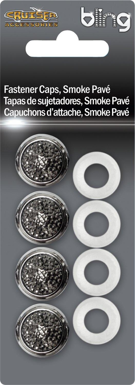 Chrome//Smoke Pave Cruiser Accessories 82432 License Plate Frame Fastener Caps