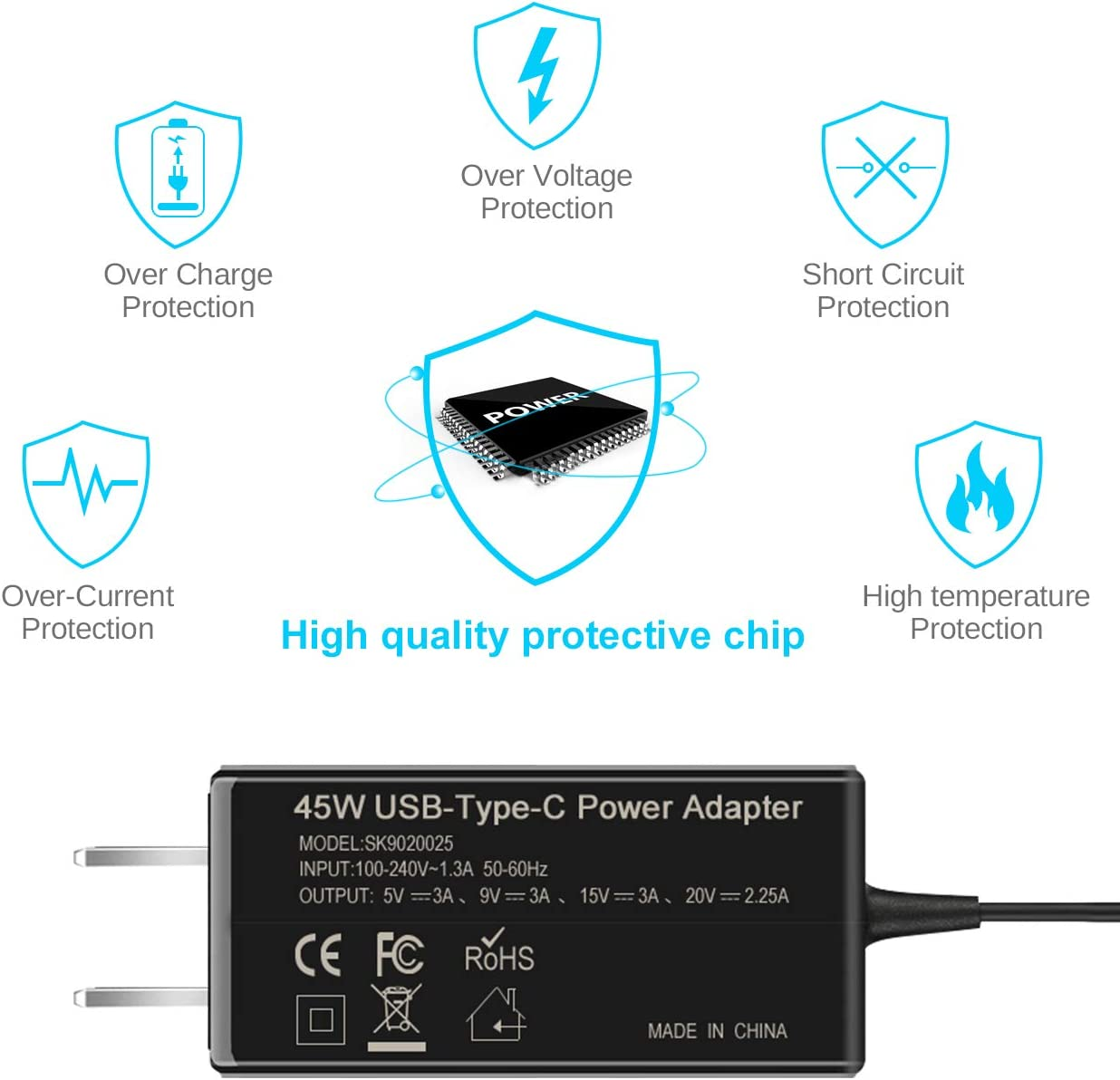 USB C Quick Charger, 45W Type C Adapter Power Cord for Asus Chromebook C302 C302C C302CA ZenBook Flip MacBook 12 inch/Pro/Air 2018, Dell XPS, ...