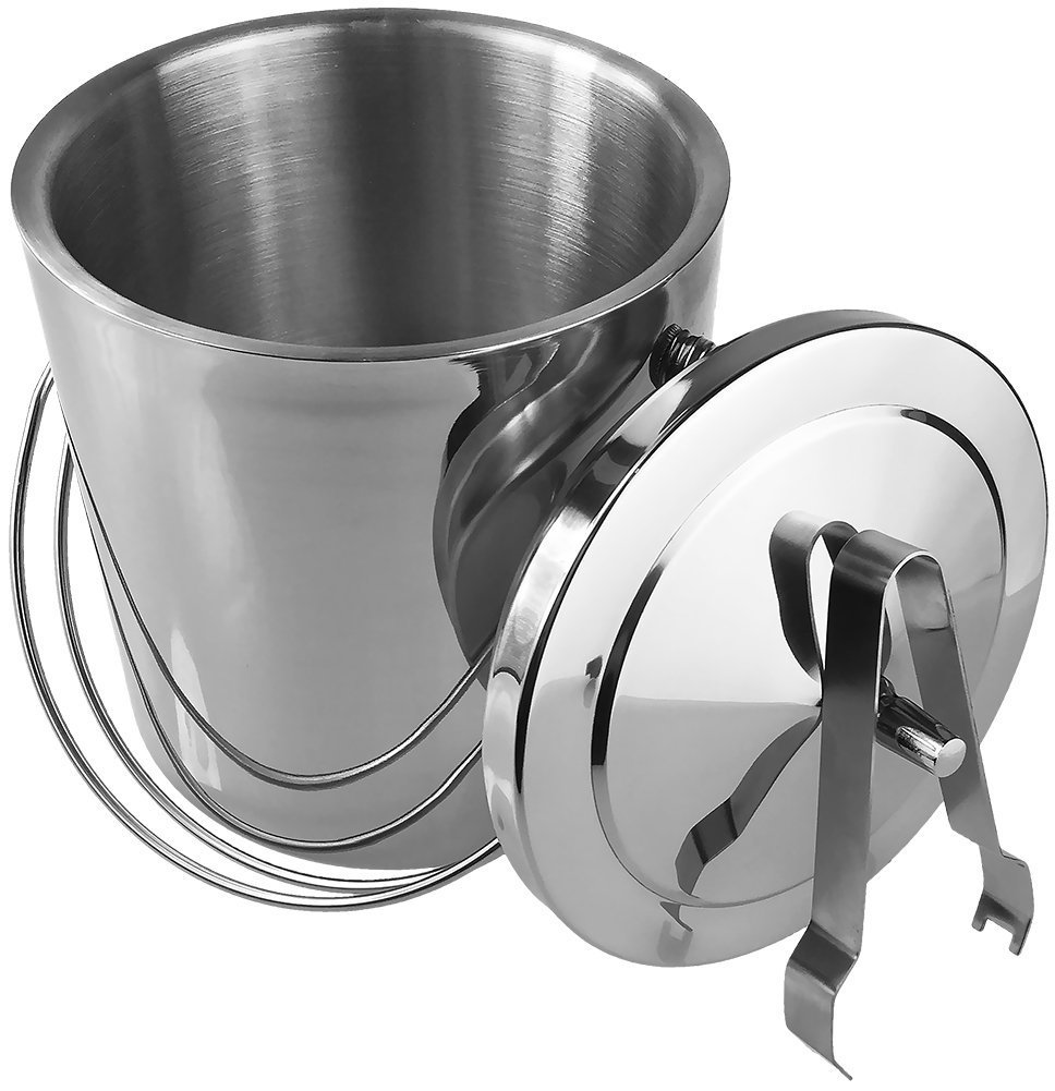 Quality Department Stainless Steel Ice Bucket With Tongs And Lid, Double Walled, 2L Silver by Quality Department