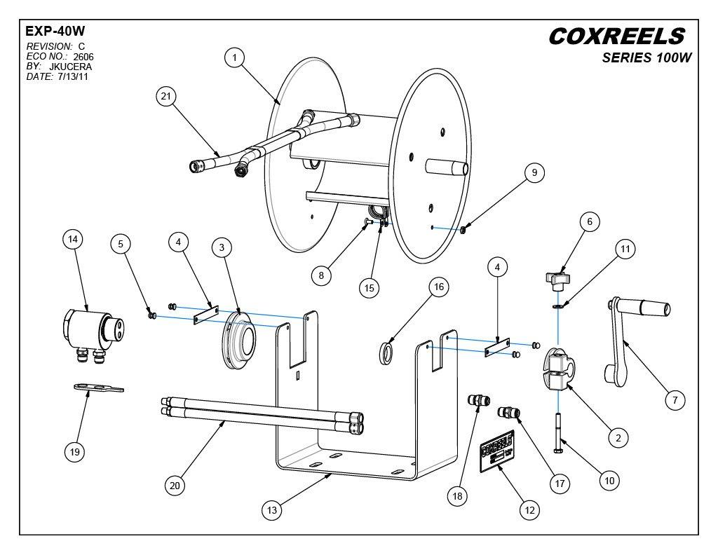 Coxreels 112wl 1 100 Welding Hand Crank Hose Reel 4 Id Oxy Acetylene Equipment Diagram