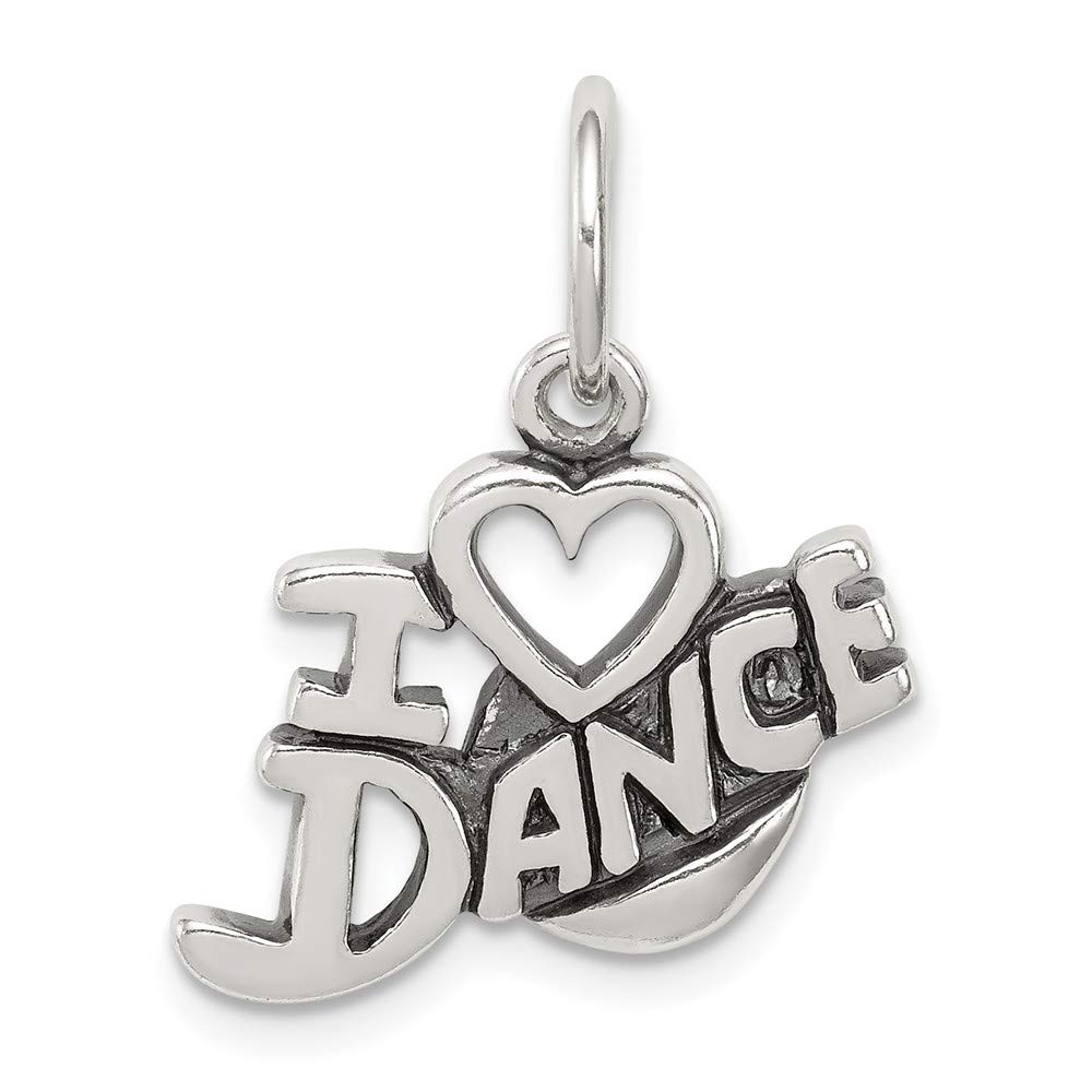 0.63 in x 0.67 in Jewel Tie Sterling Silver Antiqued I Love Dance Charm