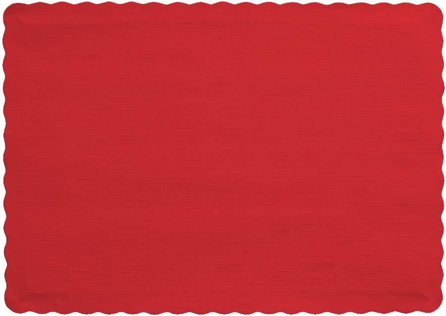 """Creative Converting 863548B Paper Scalloped Edges Placemats, 9.45"""" x 13.25"""", Classic Red"""