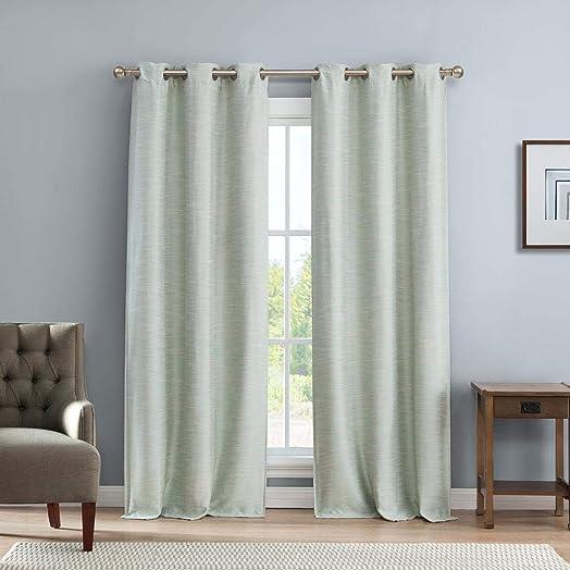 Kelvin Fay Faux Linen Blackout Darkening Grommet Top Window Curtains Pair Drape