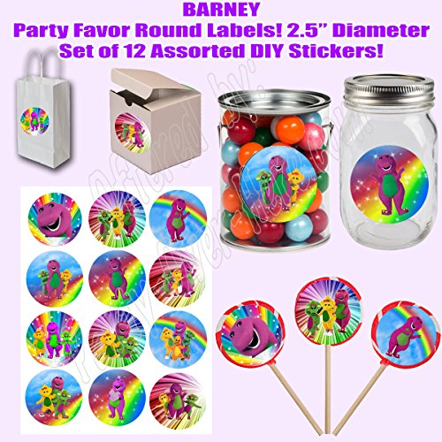 "Barney Stickers, Large 2.5"" Round Circle Stickers to place onto Party Favor Bags, Cards, Boxes or Containers -12 pcs, Purple Dinosaur, Baby Bop, B.J., -"