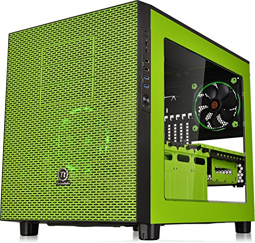 thermaltake core x5 green riing edition e atx stackable tt lcs certified cube computer chassis. Black Bedroom Furniture Sets. Home Design Ideas