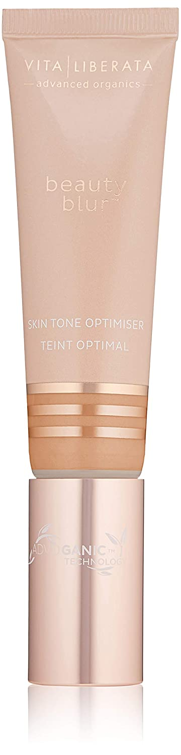 Organic Skin Perfecting CC Cream - VITA LIBERATA Beauty Blur Organic, Natural and Vegan Primer and Skin Tone Optimizer For Face Tan Latte/Medium 30 ml WR824