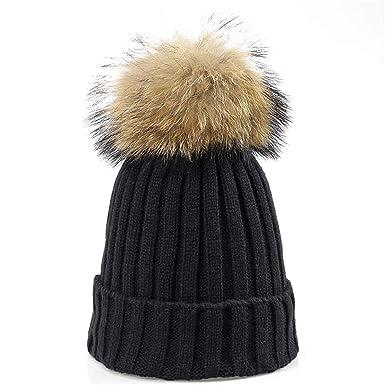 ad2cca7bdde70 LKXHarleya Women Men Knitted Beanies Hats Faux Fur Pom Pom Winter Warm  Cable Knit Skullies Caps