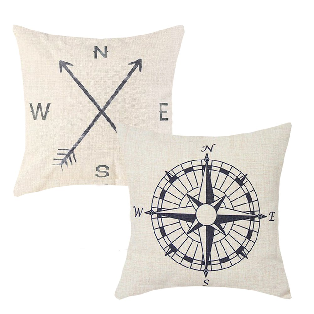 Anickal Set of 2 Summer Decorations Nautical Arrow Compass Decorative Throw Pillow Covers Cotton Linen Pillow Cases 18 x 18 for Summer Home Decor