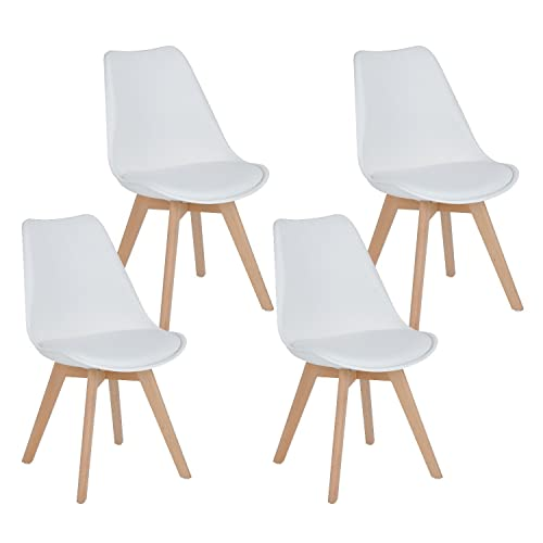 Ihouse HOMY CASA Dining Chair Set of 4 Tulips Natural Wood Legs Design Mid Back Leather Padded Kitchen Chairs with Cushion White