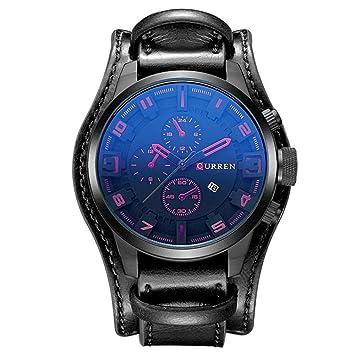 69b6dcff8 Reloj de cuarzo analógico CURREN para hombre con correa de cuero 8225:  Amazon.es: Deportes y aire libre