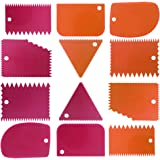 Cake Scraper Smoother Tool Set, DaKuan 12 pcs Cake Smoothing Cutter Plate Tool Combo, Cake Icing Scrapper Cake Edge…