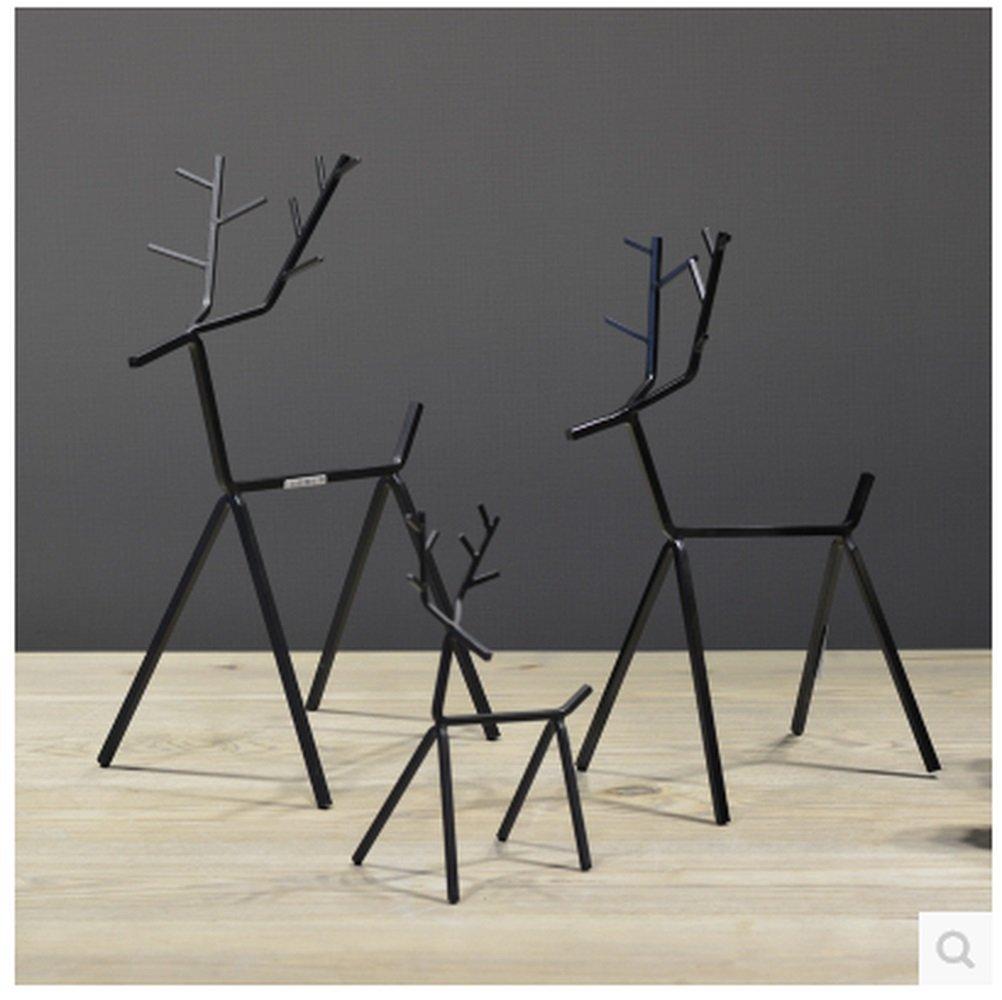 BWLZSP 1 SET(3pcs) Black Iron Decoration Geometric Fawn Animal Crafts Furnishing Home Decorations AP5181404