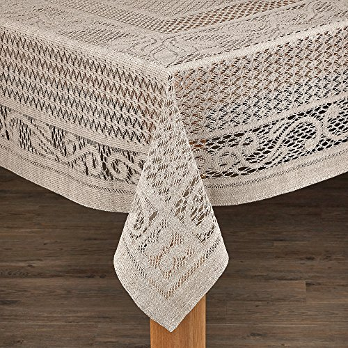 Lintex Linens Chantilly Crochet Cotton Tablecloth Imported from Spain Lime Square by Lintex Linens