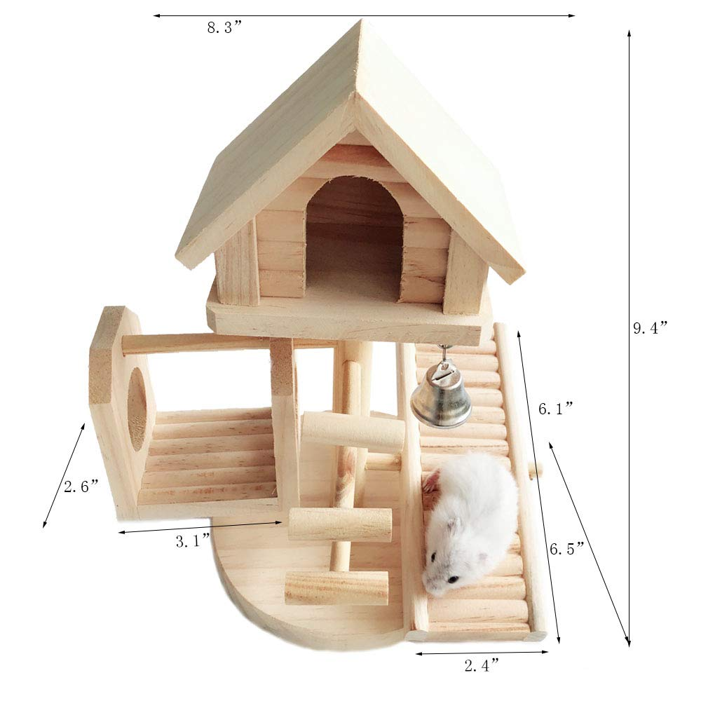 Dwarf Hamster House Durable Odorless Non-Toxic Deluxe Two Layers Wooden Hut for Hamster Toys Hamster House Natural Living Wooden Castle, Small Animal Playground Chew Toy (1castle Set) by Hamiledyi (Image #2)