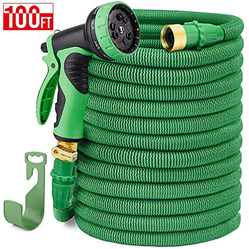 Delxo 100FT Expandable Garden Hose Water Hose with 9-Function High-Pressure Spray Nozzle,Black Heavy Duty Flexible Hose, 3/4
