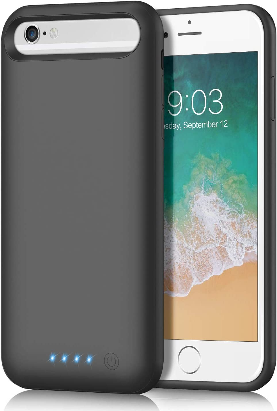 QTshine Battery Case for iPhone 66s78 [6000mAh Newest Version] Charging Case Extended Battery for iPhone 66s78, Rechargeable Portable Charger