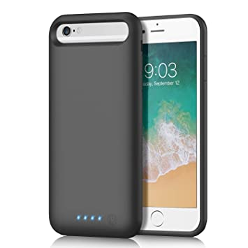 QTshine Funda Bateria para iPhone 8/7/6/6s, [6000mAh] Funda Cargador Portatil Batería Externa Ultra Carcasa Batería Recargable Power Bank Case para ...