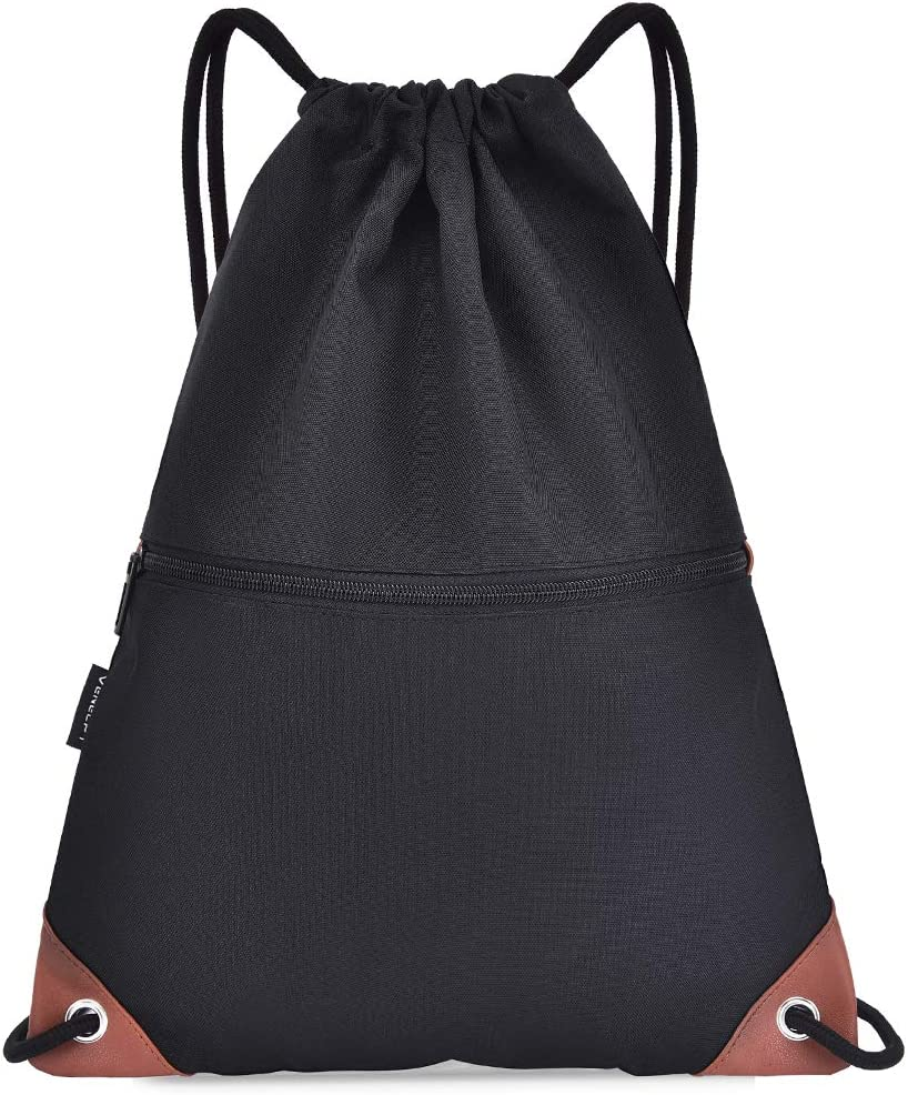Festnight Gym Sack Drawstring Backpack Water-resistant Drawstring Bucket Bag with Zipper Pockets Light Sack for Adults and Teenagers Kids